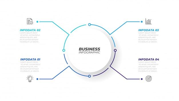 Elemento di infografica linea sottile con forma di cerchio per brochure. concetto di business con 4 opzioni, passaggi o processi. illustrazione vettoriale può essere utilizzato per diagramma del flusso di lavoro, relazione annuale, web design.