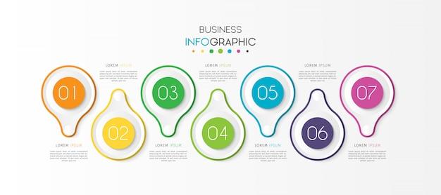 Elemento di infografica timeline affari cerchio con opzioni o passaggi