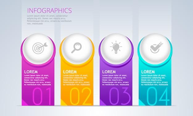 Elemento di infografica vettoriale cronologia con 4 passaggi.