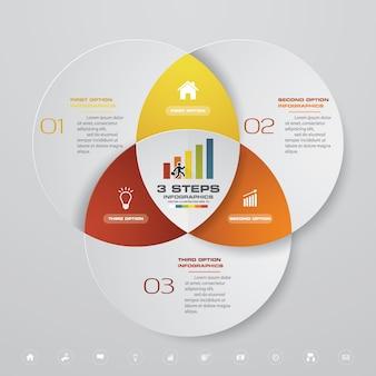 Elemento di infographics di processo 3 passaggi per la presentazione.