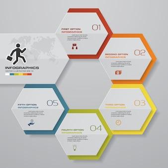 Elemento di infographics di processo di 5 passi per la presentazione.