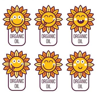 Elemento di logo avatar icona icona etichetta carta con girasole