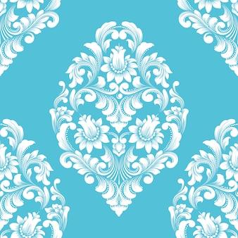 Elemento di reticolo senza giunte del damasco di vettore. ornamento damascato vecchio stile di lusso classico, stile vittoriano reale