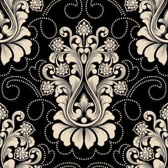 Elemento di reticolo senza giunte del damasco di vettore. ornamento damascato vecchio stile di lusso classico, trama vittoriana senza soluzione di continuità per sfondi, tessuti, confezioni. modello barocco floreale squisito.