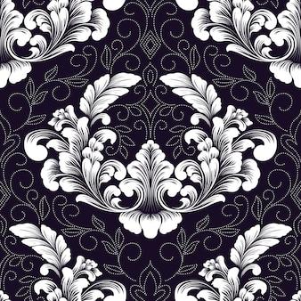 Elemento di reticolo senza giunte del damasco di vettore. ornamento damascato vecchio stile di lusso classico, trama vittoriana senza soluzione di continuità per sfondi, tessuti, confezioni.