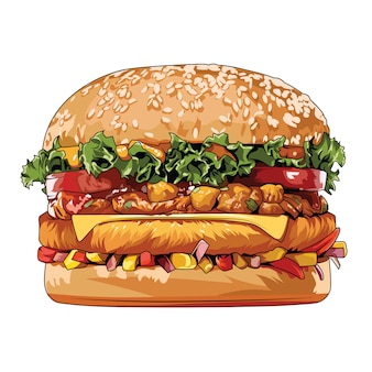 Elemento di vettore di cibo spazzatura di hamburger di cibo di strada