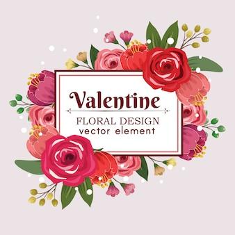 Elemento di vettore di disegno floreale carino san valentino