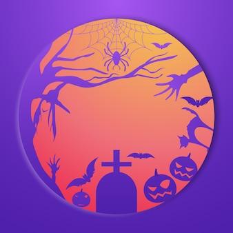 Elemento di zucca, tomba, pipistrello e spettrale di halloween