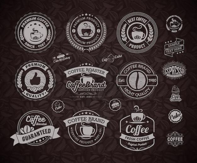Elemento distintivi ed etichette di caffè loghi