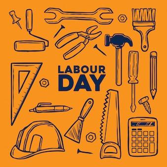 Elemento festa del lavoro con strumenti disegnati a mano