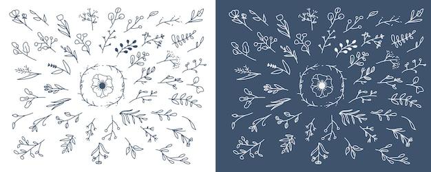 Elemento floreale disegnato a mano per ornamento invito a nozze