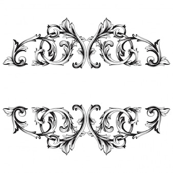 Elemento floreale vittoriano o damasco disegnato a mano d'annata. inchiostro inciso in bianco e nero art.