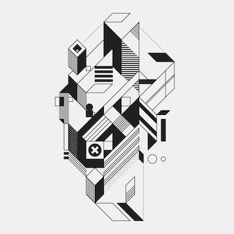 Elemento geometrico astratto in stile futuristico isolato su priorità bassa bianca. utile per stampe e poster.