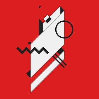 Elemento geometrico astratto su sfondo rosso. utile come copertina cd, stampa o poster.