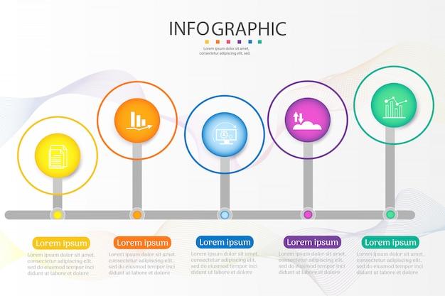 Elemento grafico del grafico di opzioni di progettazione modello 5 opzioni.
