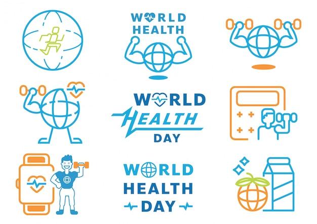 Elemento grafico di giornata mondiale della salute con la progettazione della parola