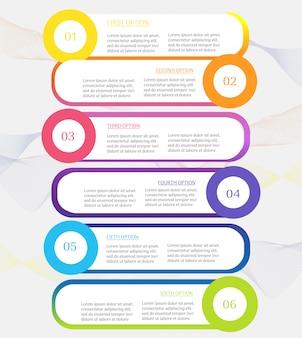 Elemento grafico di infografica passi modello modello 6 di business.