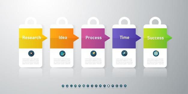 Elemento grafico di progettazione opzioni modello 5 opzioni infografica.