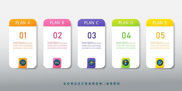 Elemento grafico di progettazione opzioni modello 5 opzioni infografica
