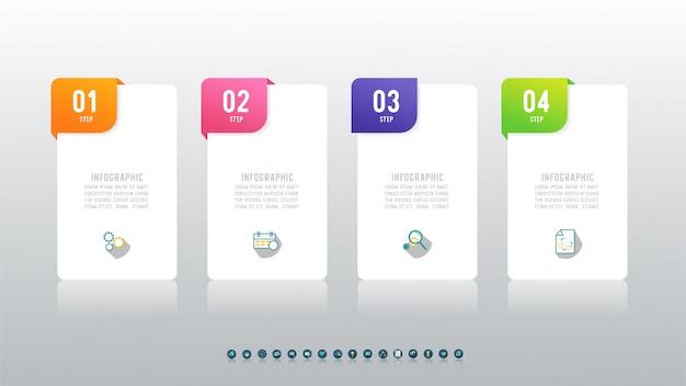 Elemento grafico infografica a quattro fasi del modello di progettazione aziendale.