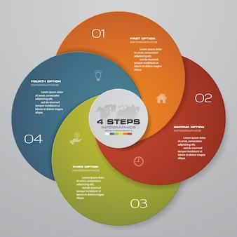Elemento infografica 4 passaggi per la presentazione.