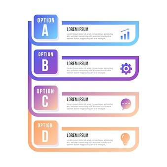 Elemento infografica con passaggi impostati
