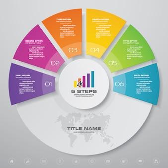 Elemento infografica grafico a 6 passaggi semplice e modificabile