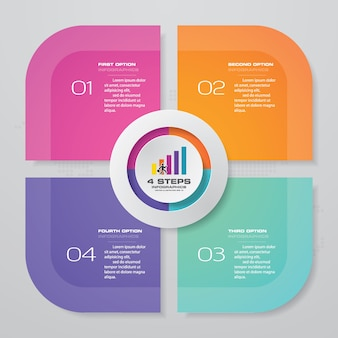 Elemento infografica grafico processo 4 passaggi.