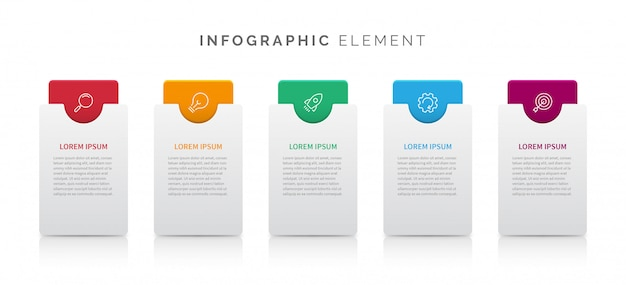 Elemento infografica in cinque passaggi