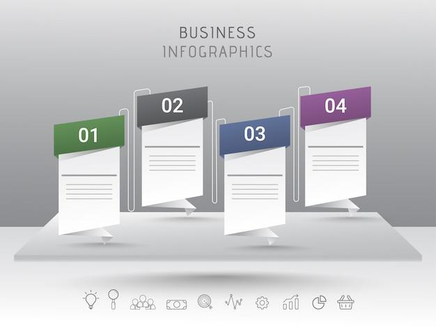 Elemento infografico di stile di 4 livelli di nota adesiva per affari