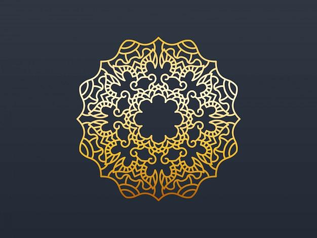 Elemento mandala oro decorativo.