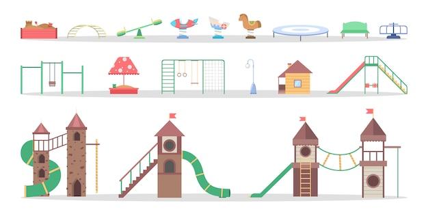 Elemento playgorund per bambini insieme. scivolo e sega a mare, oscillazione e razzo. attrezzature per la scuola materna. illustrazione