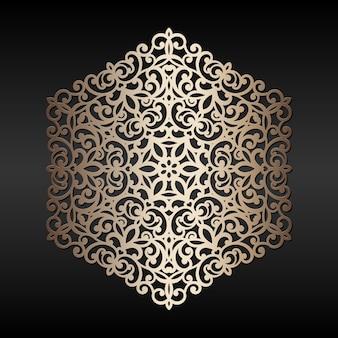 Elemento rotondo dorato astratto. modello di mandala tagliato al laser, orientale