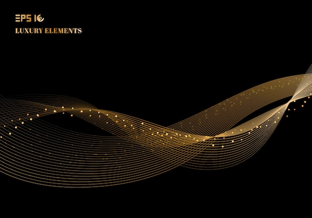 Elemento scintillante di progettazione dell'onda dell'oro di colore brillante astratto con effetto di scintillio sul concetto di lusso del fondo scuro