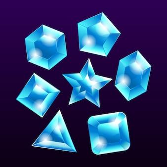 Elemento set emblema gemma pietra blu