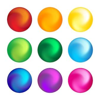Elemento tridimensionale set di sfere di colore arcobaleno