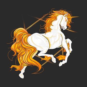 Elemento vettoriale arancione di fuoco unicorno