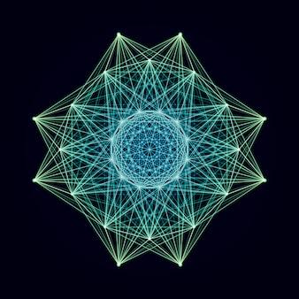 Elemento vettoriale wireframe per dati scientifici o rappresentazione di strutture.