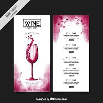 Elenco con diversi tipi di vini