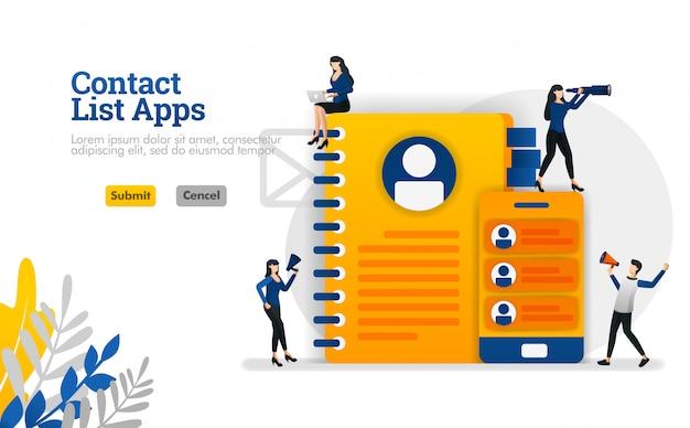 Elenco contatti app per dispositivi mobili e promemoria. equipaggiato con libri e smartphone illustrazione vettoriale