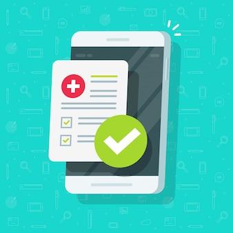 Elenco dei moduli medici o documenti della checklist clinica con i dati dei risultati e segno di spunta approvato sul cartone animato piatto cellulare o cellulare