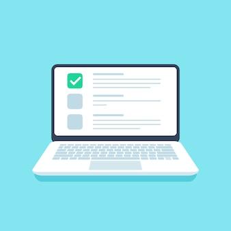 Elenco di controllo del quiz online. esame web, scelta delle opzioni sullo schermo del laptop e illustrazione delle liste di controllo del questionario