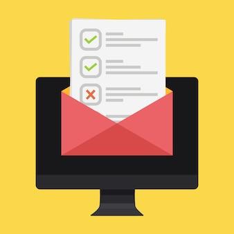 Elenco di controllo e segni di spunta via e-mail.