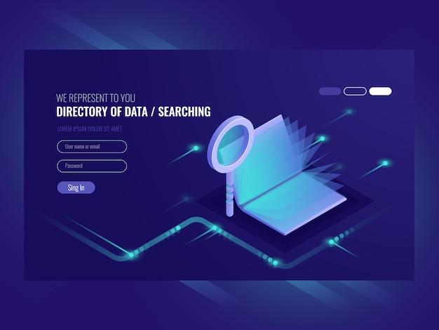 Elenco di dati, risultati di serching delle informazioni, libro con lente di ingrandimento