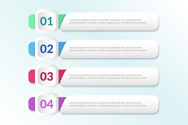 Elenco progettazione infografica con 4 elenchi informazioni