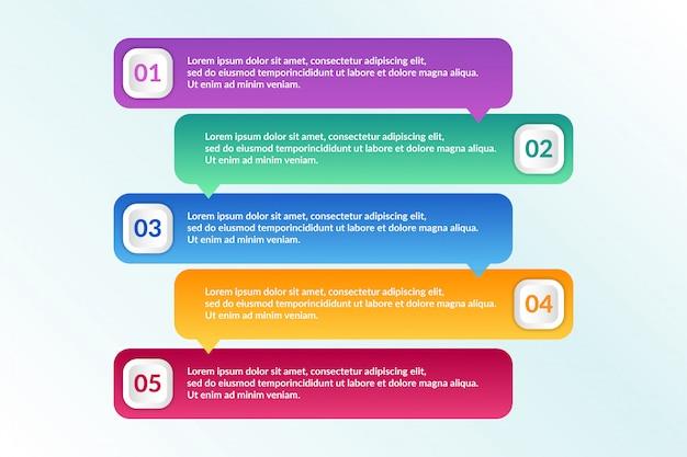 Elenco progettazione infografica con 5 elenchi informazioni