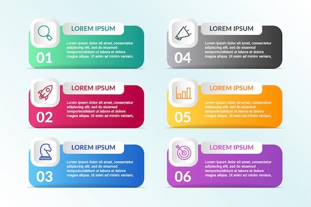 Elenco progettazione infografica con 6 elenchi informazioni