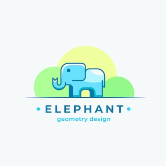 Elephan geometry design abstract sign, symbol o logo template con la sagoma animale minuscola variopinta.