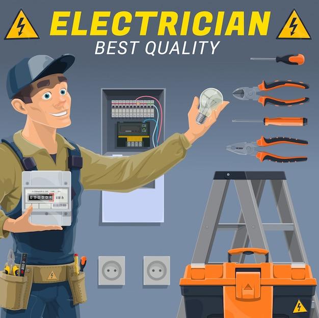 Elettricista con apparecchiature elettriche e strumenti