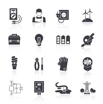 Elettricità icona nero